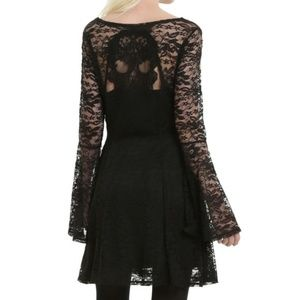 Hot Topic Lace Bell Sleeve Skull Mini Dress NWT Sm